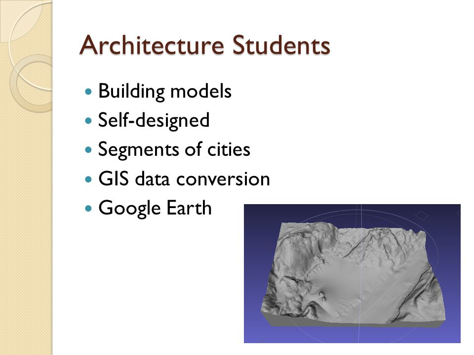 Architecture Students Building models Self-designed Segments of cities GIS data conversion Google Earth