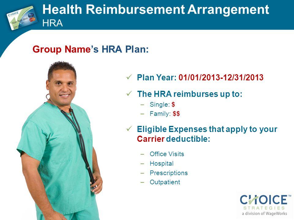 Health Reimbursement Arrangement HRA Plan Year: 01/01/2013-12/31/2013 The HRA reimburses up to: –Single: $ –Family: $$ Eligible Expenses that apply to
