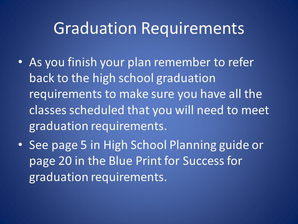 Graduation Requirements As you finish your plan remember to refer back to the high school graduation requirements to make sure you have all the classe