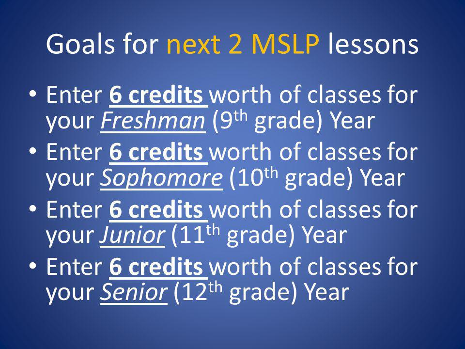 Goals for next 2 MSLP lessons Enter 6 credits worth of classes for your Freshman (9 th grade) Year Enter 6 credits worth of classes for your Sophomore