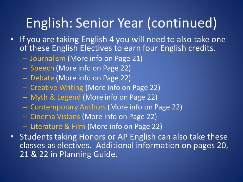 English: Senior Year (continued) If you are taking English 4 you will need to also take one of these English Electives to earn four English credits. –