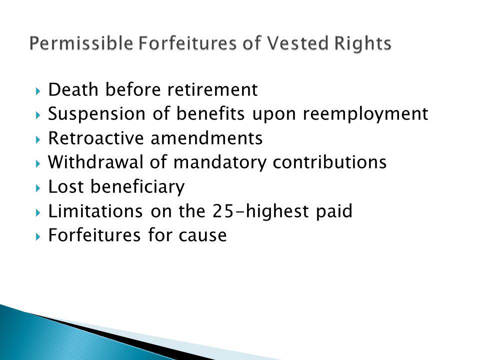 Death before retirement Suspension of benefits upon reemployment Retroactive amendments Withdrawal of mandatory contributions Lost beneficiary Limitat