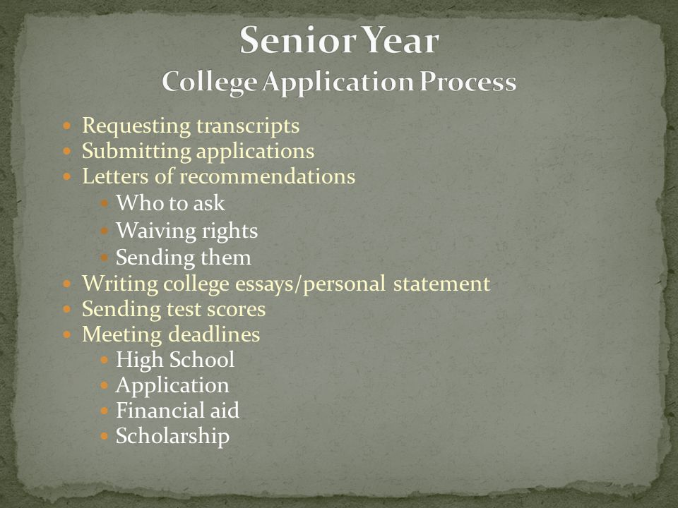 Requesting transcripts Submitting applications Letters of recommendations Who to ask Waiving rights Sending them Writing college essays/personal state