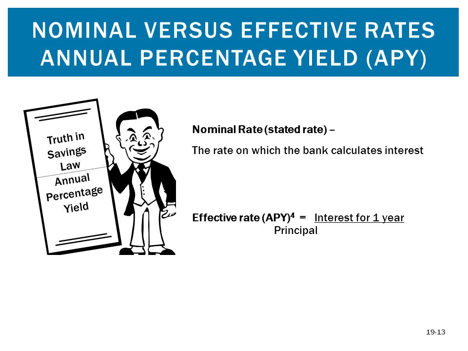 NOMINAL VERSUS EFFECTIVE RATES ANNUAL PERCENTAGE YIELD (APY) Truth in Savings Law Annual Percentage Yield Effective rate (APY) 4 = Interest for 1 year