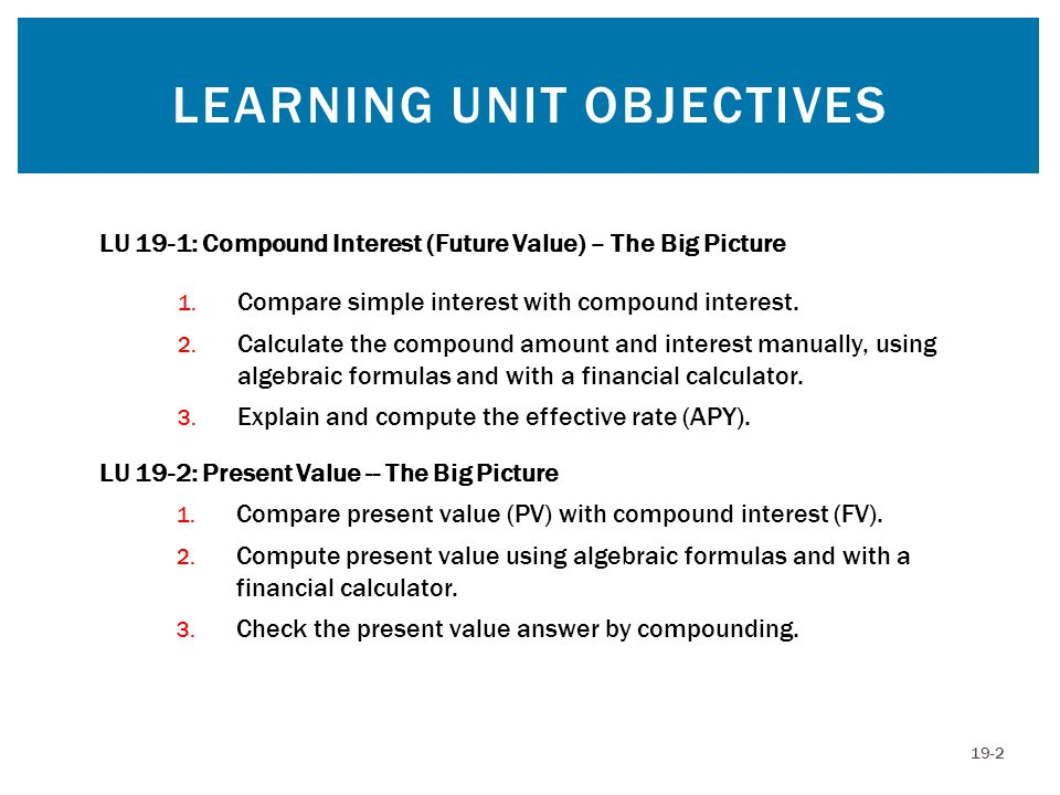 COMPOUND INTEREST (FUTURE VALUE) Compound Interest – The interest on the principal plus the interest of prior periods Compounding – Involves the calculation of interest periodically over the life of the loan or investment Present Value – The value of a loan or investment today Future Value (compound amount) – The final amount of the loan or investment at the end of the last period 19-3