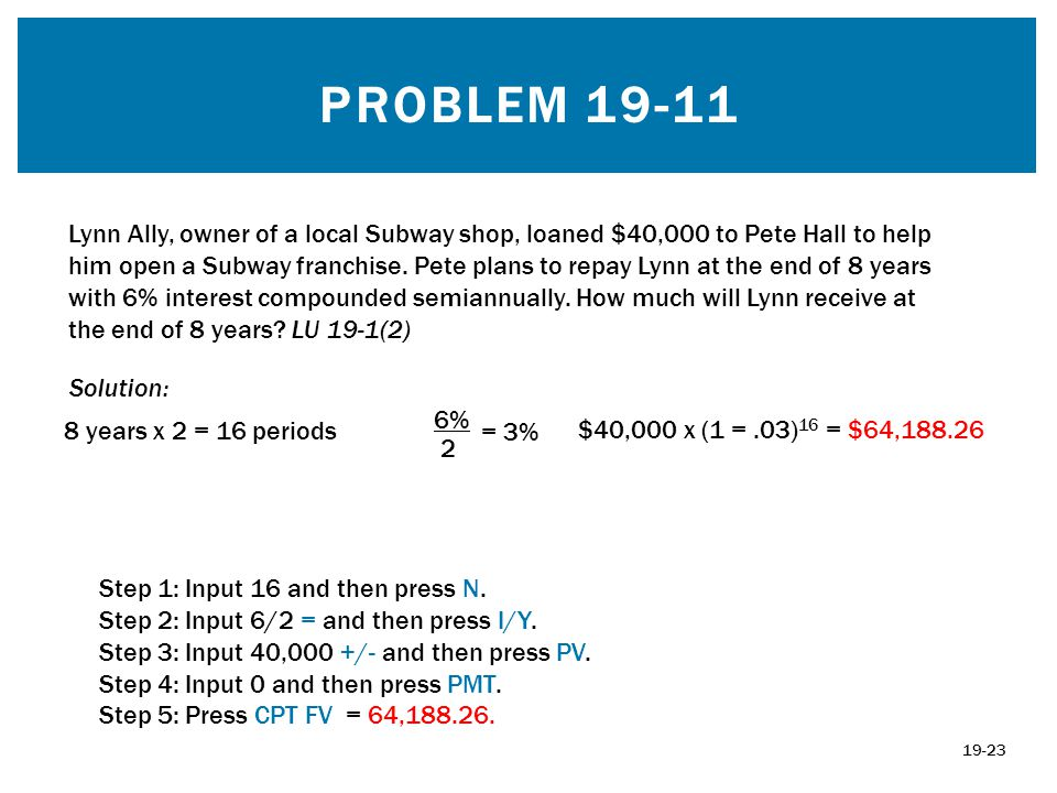 PROBLEM 19-11 Solution: 8 years x 2 = 16 periods 6% 2 = 3% $40,000 x (1 =.03) 16 = $64,188.26 19-23 Lynn Ally, owner of a local Subway shop, loaned $4