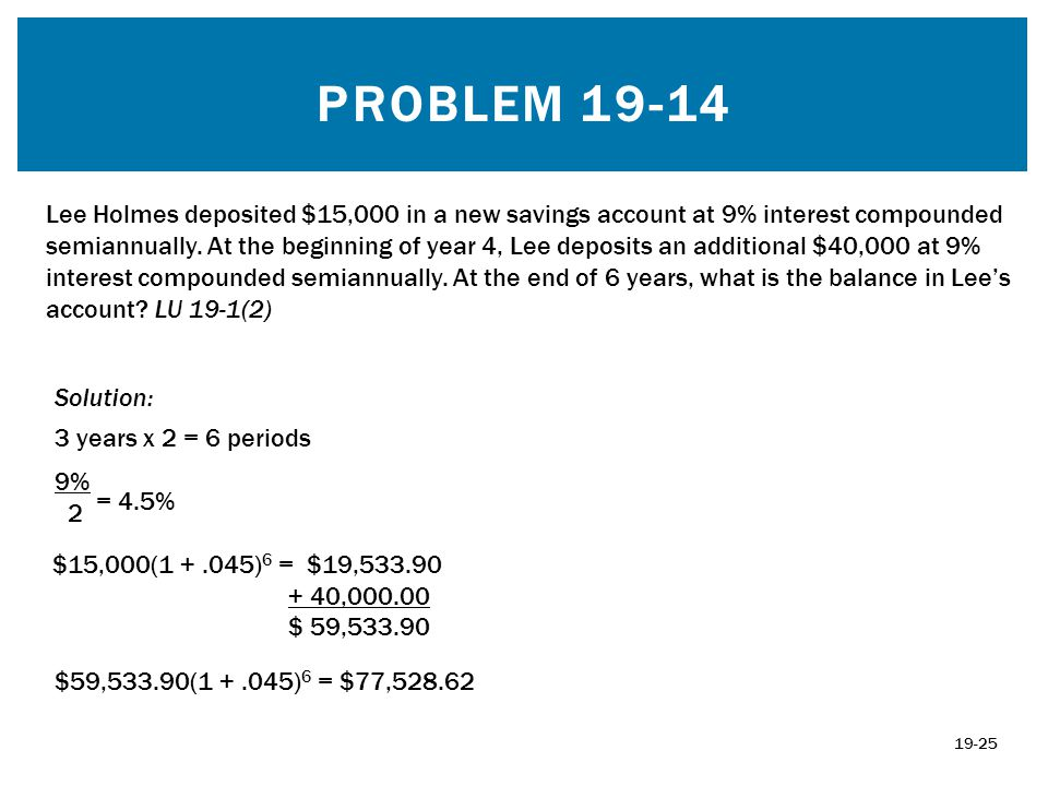 PROBLEM 19-14 Solution: 3 years x 2 = 6 periods 9% 2 = 4.5% $59,533.90(1 +.045) 6 = $77,528.62 19-25 Lee Holmes deposited $15,000 in a new savings acc