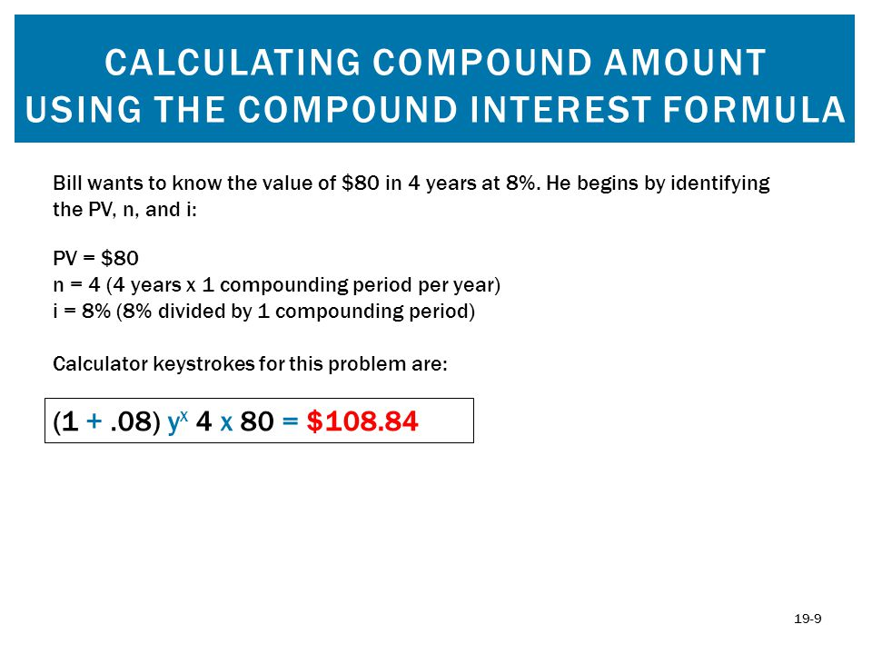 CALCULATING COMPOUND AMOUNT USING YOUR TI BA II PLUS CALCULATOR Remember to clear the TVM each time you work with new data: 2ND CLR TVM To solve the future value of $80 at 8% compounded annually for 4 years, using your calculator, follow these steps: Step 1: Input 4 and then press N.