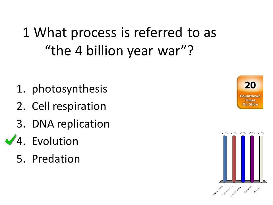 1 What process is referred to as the 4 billion year war? 1.photosynthesis 2.Cell respiration 3.DNA replication 4.Evolution 5.Predation 20