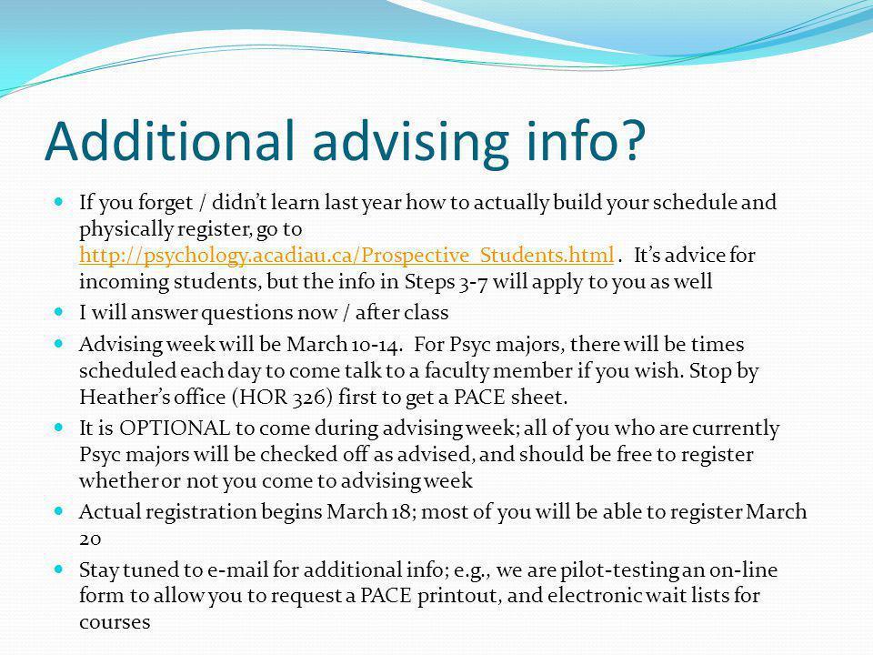 Additional advising info.