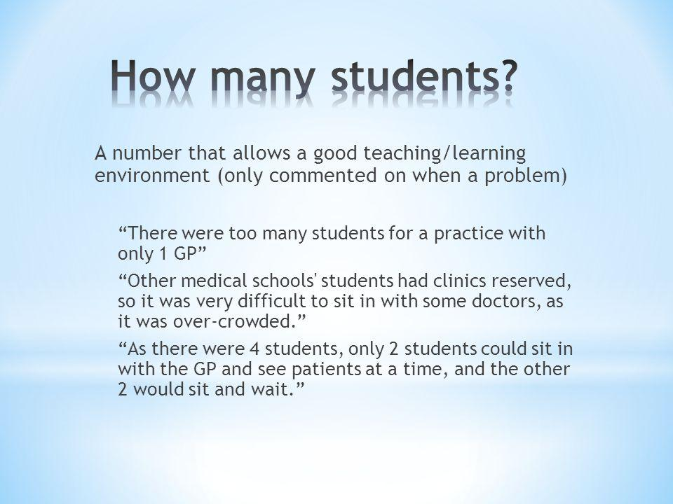 Also can be an opportunity to let students speak with patients before they see the GP (may depend on space available) Although daunting at first, we were left with patients to take their histories and start the examination (e.g.