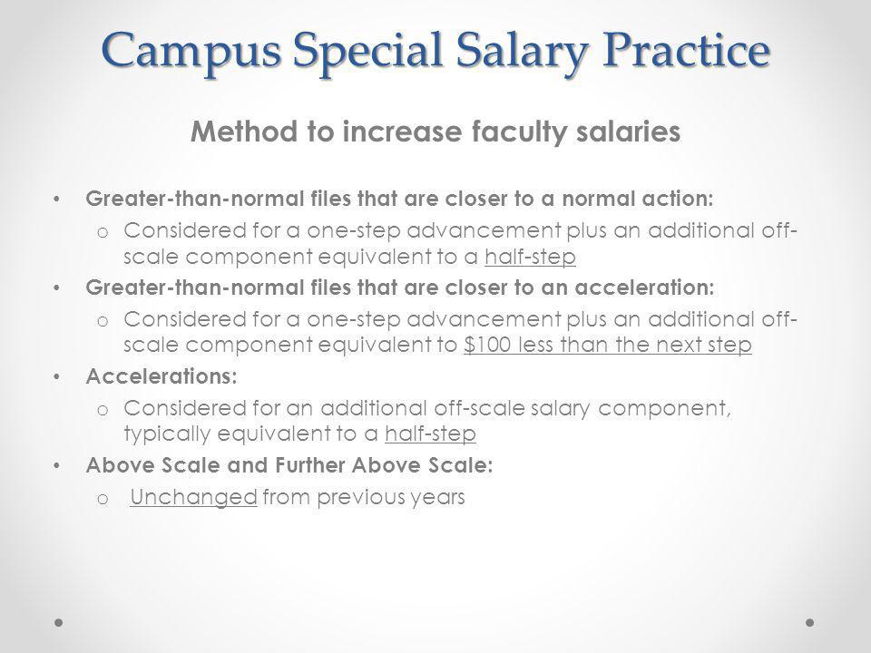 Campus Special Salary Practice Method to increase faculty salaries Greater-than-normal files that are closer to a normal action: o Considered for a one-step advancement plus an additional off- scale component equivalent to a half-step Greater-than-normal files that are closer to an acceleration: o Considered for a one-step advancement plus an additional off- scale component equivalent to $100 less than the next step Accelerations: o Considered for an additional off-scale salary component, typically equivalent to a half-step Above Scale and Further Above Scale: o Unchanged from previous years