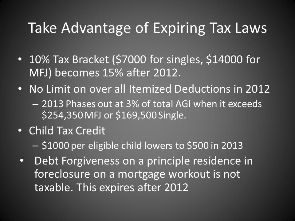 Take Advantage of Expiring Tax Laws 10% Tax Bracket ($7000 for singles, $14000 for MFJ) becomes 15% after 2012.