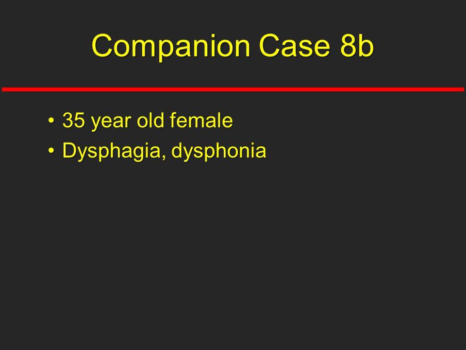 35 year old female35 year old female Dysphagia, dysphoniaDysphagia, dysphonia Companion Case 8b