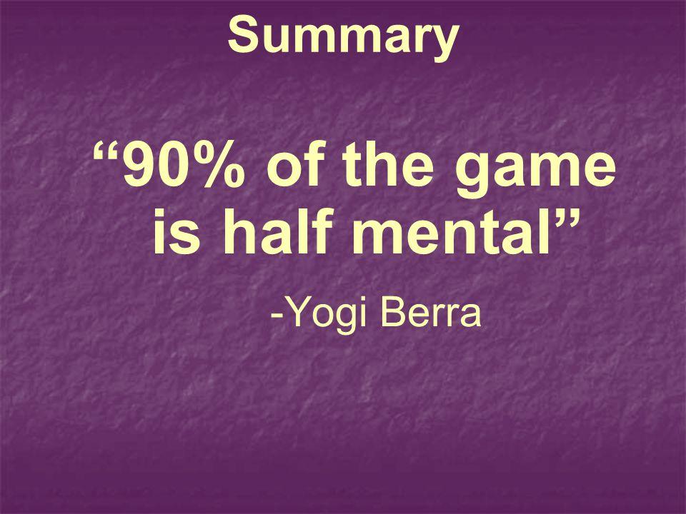 Summary 90% of the game is half mental -Yogi Berra