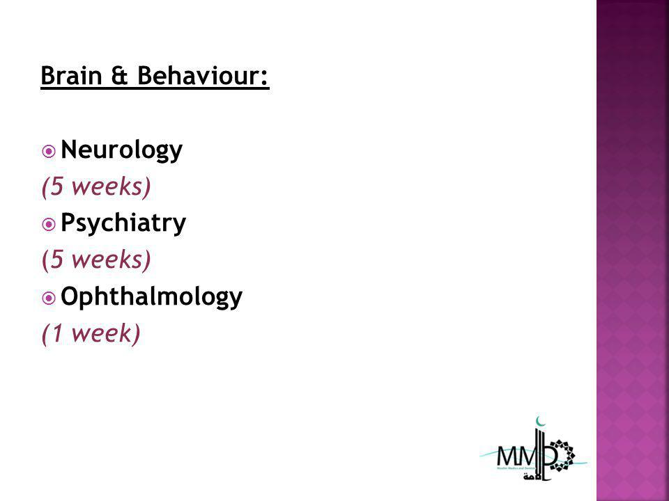 Brain & Behaviour: Neurology (5 weeks) Psychiatry (5 weeks) Ophthalmology (1 week)