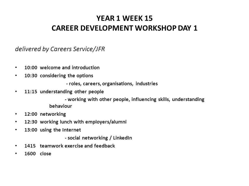 YEAR 1 WEEK 15 CAREER DEVELOPMENT WORKSHOP DAY 2 preparing for the placement year delivered by KY, JFR and former placement students 10:00 why you should do a professional placement 10:30writing your CV and cover letter 11:30preparing the first CV draft 12:30the application process (part 1) and resources 13:00close
