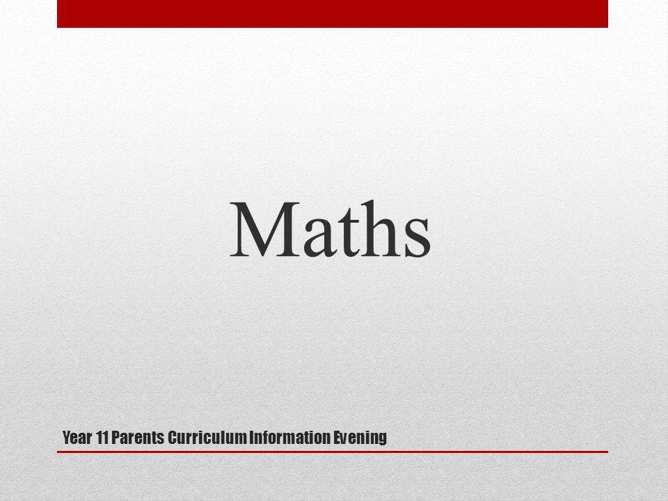 Year 11 Parents Curriculum Information Evening Maths