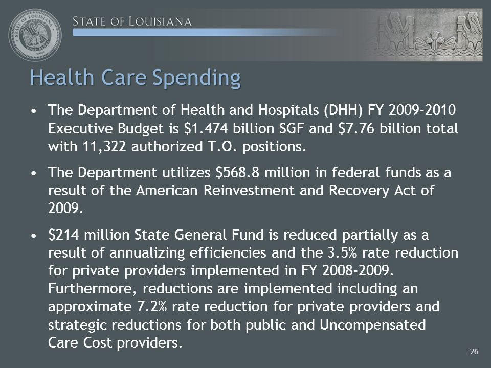 The Department of Health and Hospitals (DHH) FY 2009-2010 Executive Budget is $1.474 billion SGF and $7.76 billion total with 11,322 authorized T.O.