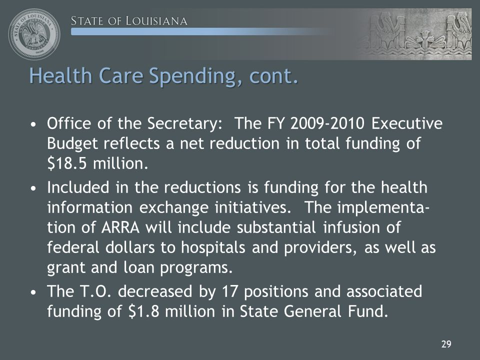 Office of the Secretary: The FY 2009-2010 Executive Budget reflects a net reduction in total funding of $18.5 million.