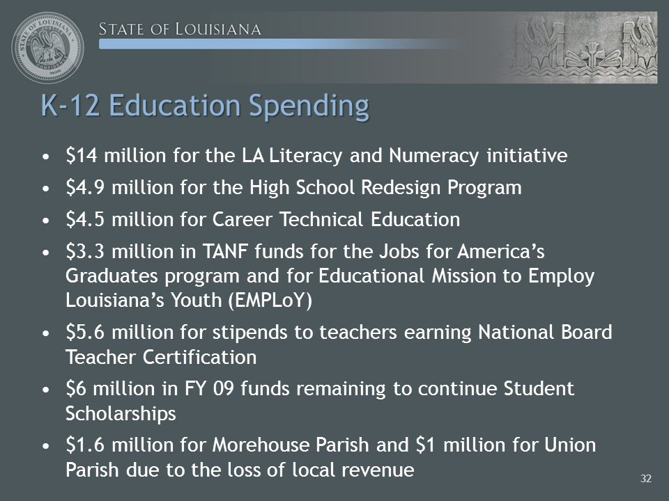 K-12 Education Spending $14 million for the LA Literacy and Numeracy initiative $4.9 million for the High School Redesign Program $4.5 million for Career Technical Education $3.3 million in TANF funds for the Jobs for Americas Graduates program and for Educational Mission to Employ Louisianas Youth (EMPLoY) $5.6 million for stipends to teachers earning National Board Teacher Certification $6 million in FY 09 funds remaining to continue Student Scholarships $1.6 million for Morehouse Parish and $1 million for Union Parish due to the loss of local revenue 32