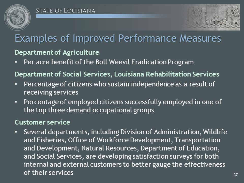 Examples of Improved Performance Measures Department of Agriculture Per acre benefit of the Boll Weevil Eradication Program Department of Social Services, Louisiana Rehabilitation Services Percentage of citizens who sustain independence as a result of receiving services Percentage of employed citizens successfully employed in one of the top three demand occupational groups Customer service Several departments, including Division of Administration, Wildlife and Fisheries, Office of Workforce Development, Transportation and Development, Natural Resources, Department of Education, and Social Services, are developing satisfaction surveys for both internal and external customers to better gauge the effectiveness of their services 37