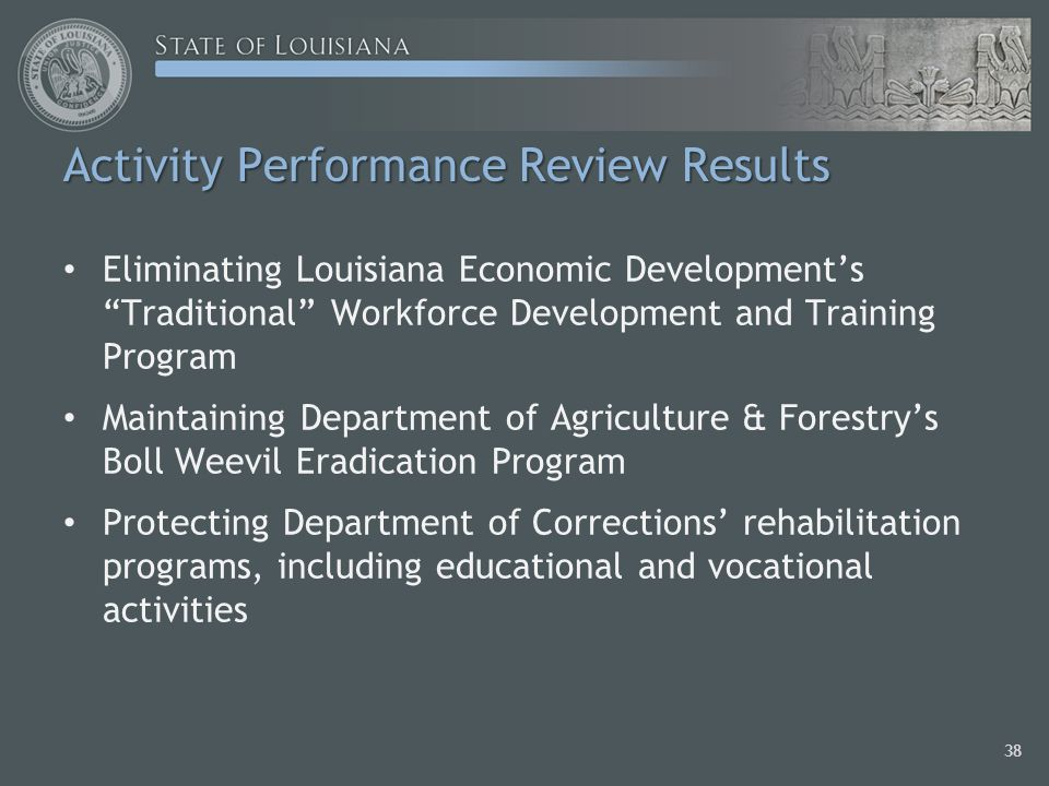 Activity Performance Review Results Eliminating Louisiana Economic Developments Traditional Workforce Development and Training Program Maintaining Department of Agriculture & Forestrys Boll Weevil Eradication Program Protecting Department of Corrections rehabilitation programs, including educational and vocational activities 38