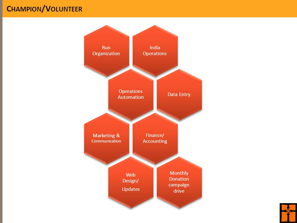 C HAMPION /V OLUNTEER India Operations Run Organization Operations Automation Data Entry Finance/ Accounting Marketing & Communication Web Design/ Updates Monthly Donation campaign drive