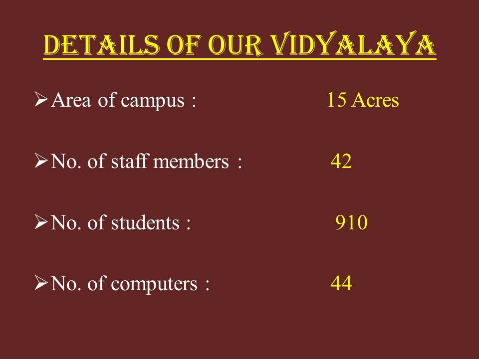DETAILS OF OUR VIDYALAYA Area of campus : 15 Acres No.