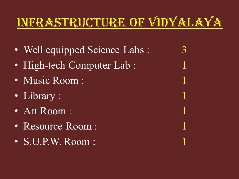 INFRASTRUCTURE OF VIDYALAYA Well equipped Science Labs :3 High-tech Computer Lab :1 Music Room :1 Library :1 Art Room :1 Resource Room : 1 S.U.P.W. Ro