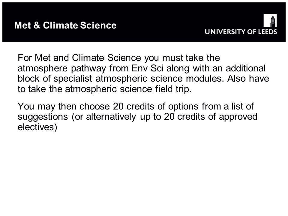 Choose options from a suggested list (50 credits for Conservation, 80 credits for Biogeo, 40 credits ESS).