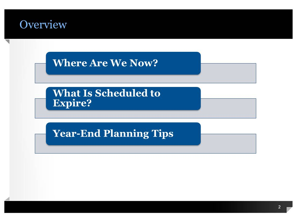 Overview 2 Where Are We Now What Is Scheduled to Expire Year-End Planning Tips