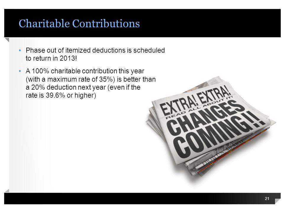 Charitable Contributions Phase out of itemized deductions is scheduled to return in 2013.