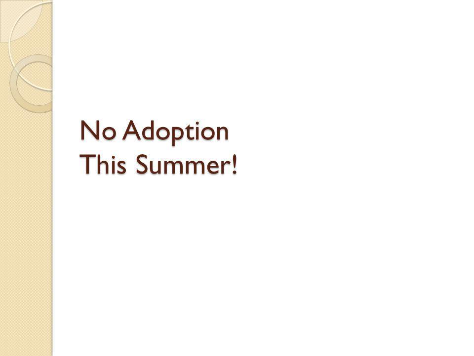 No Adoption This Summer!
