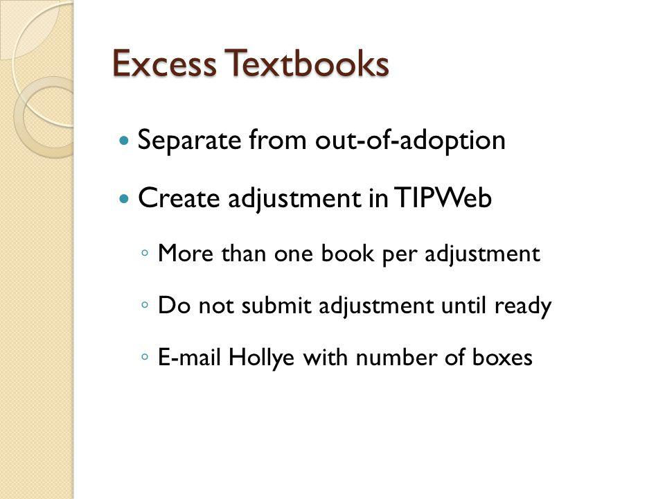 Excess Textbooks Separate from out-of-adoption Create adjustment in TIPWeb More than one book per adjustment Do not submit adjustment until ready E-mail Hollye with number of boxes
