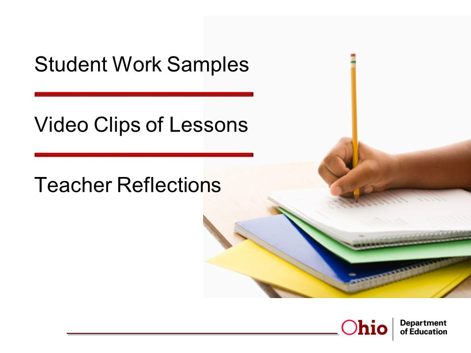 Student Work Samples Video Clips of Lessons Teacher Reflections