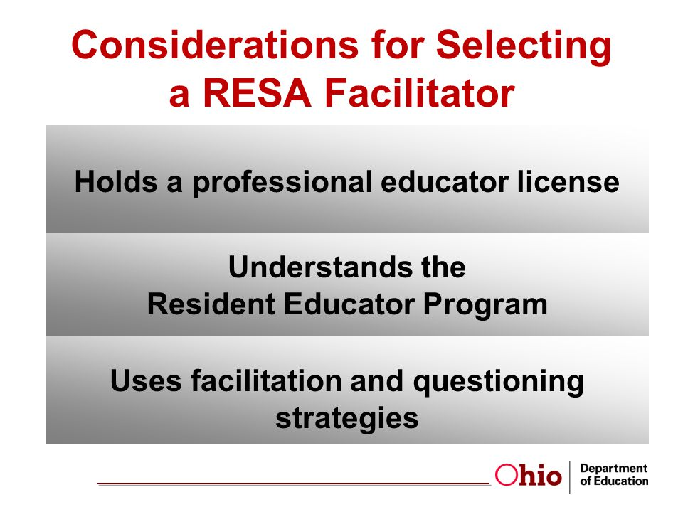 Holds a professional educator license Understands the Resident Educator Program Uses facilitation and questioning strategies Considerations for Selecting a RESA Facilitator