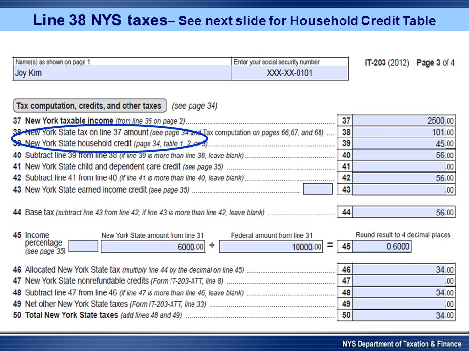 Line 38 NYS taxes – See next slide for Household Credit Table