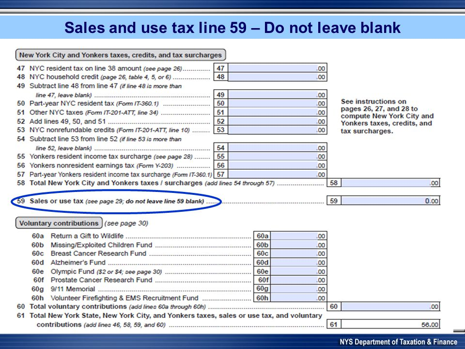 Sales and use tax line 59 – Do not leave blank