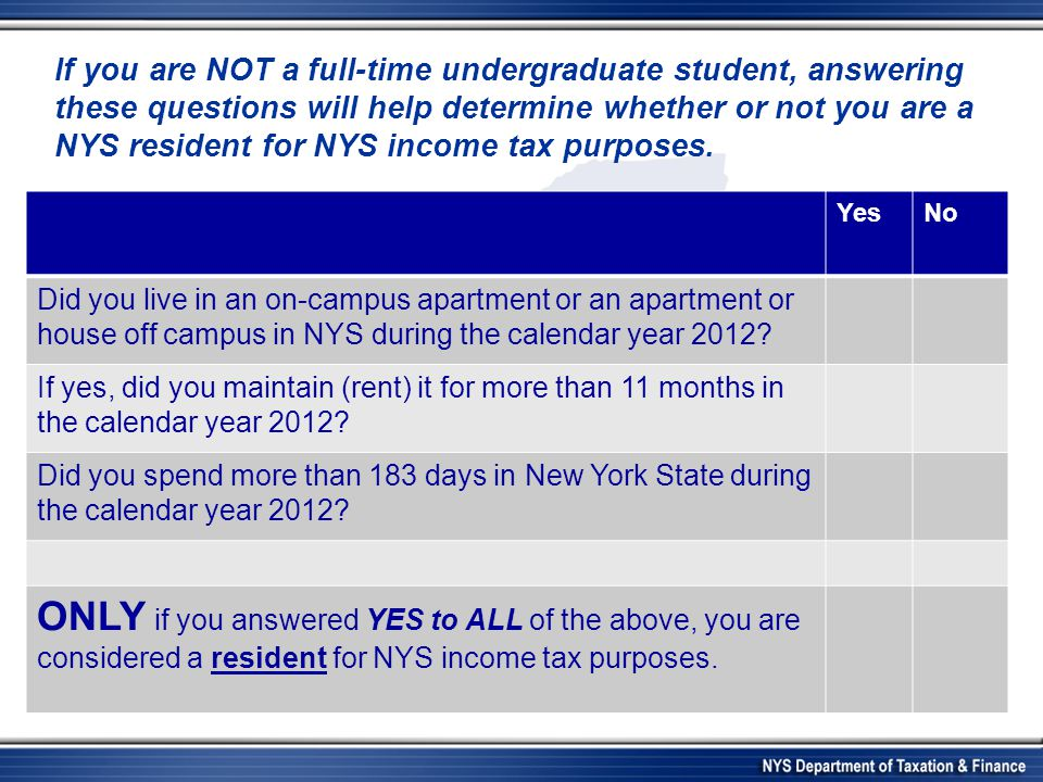 YesNo Did you live in an on-campus apartment or an apartment or house off campus in NYS during the calendar year 2012? If yes, did you maintain (rent)