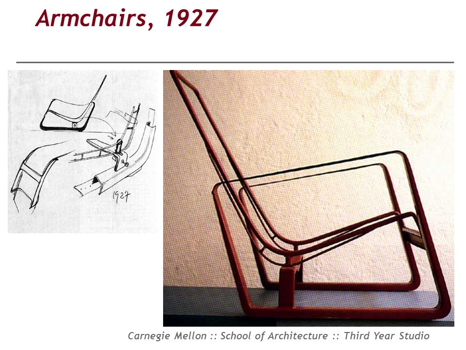 Carnegie Mellon :: School of Architecture :: Third Year Studio Armchairs, 1927