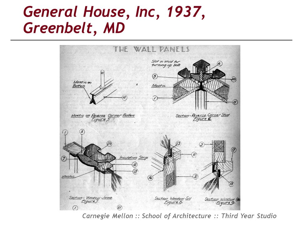 Carnegie Mellon :: School of Architecture :: Third Year Studio General House, Inc, 1937, Greenbelt, MD