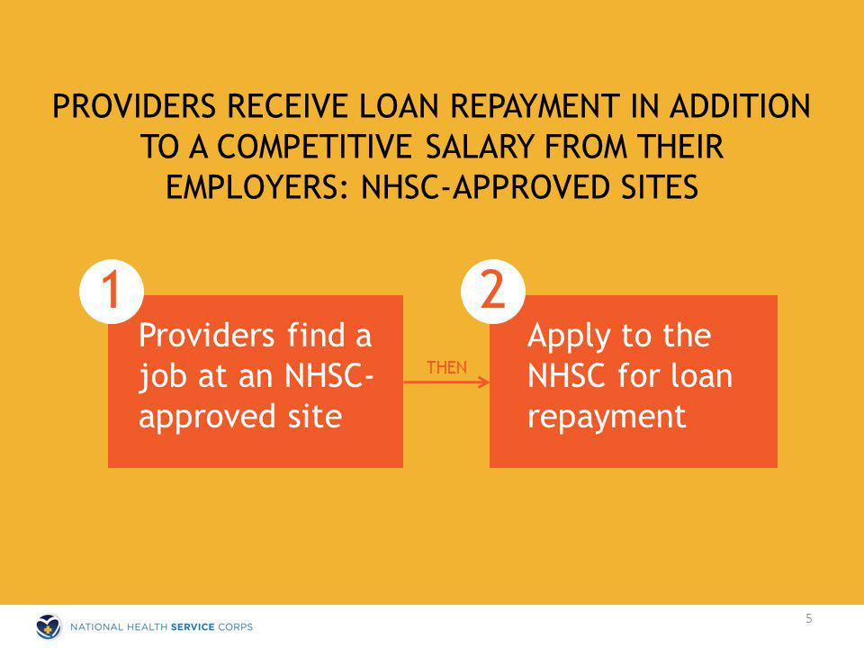 PROVIDERS RECEIVE LOAN REPAYMENT IN ADDITION TO A COMPETITIVE SALARY FROM THEIR EMPLOYERS: NHSC-APPROVED SITES 1 Providers find a job at an NHSC- approved site THEN 2 Apply to the NHSC for loan repayment 5