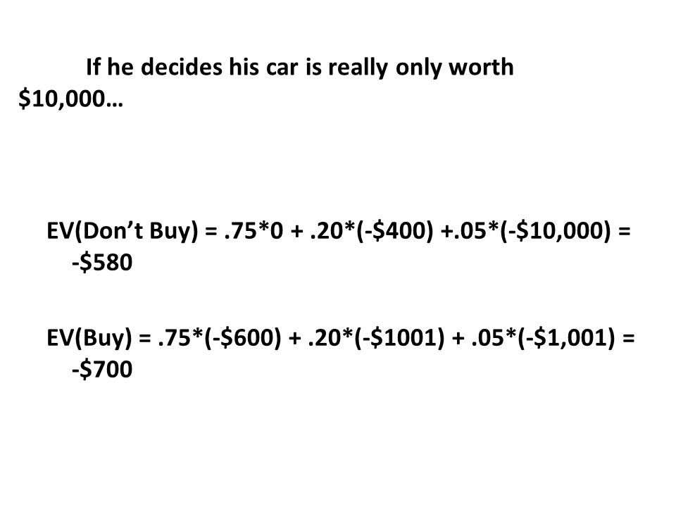 If he decides his car is really only worth $10,000… EV(Dont Buy) =.75*0 +.20*(-$400) +.05*(-$10,000) = -$580 EV(Buy) =.75*(-$600) +.20*(-$1001) +.05*(