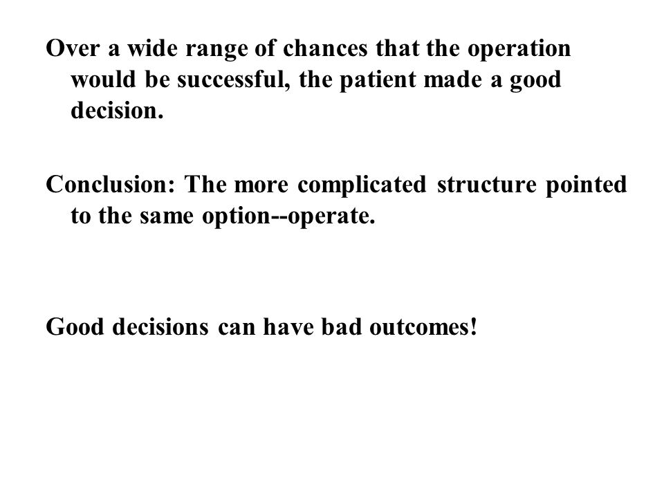 Over a wide range of chances that the operation would be successful, the patient made a good decision.