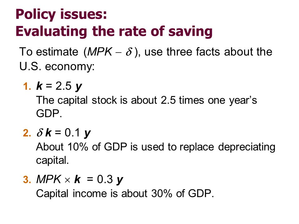 Policy issues: Evaluating the rate of saving To estimate (MPK ), use three facts about the U.S. economy: 1. k = 2.5 y The capital stock is about 2.5 t