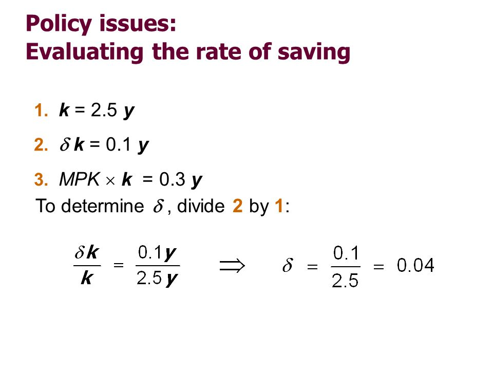 Policy issues: Evaluating the rate of saving 1. k = 2.5 y 2. k = 0.1 y 3. MPK k = 0.3 y To determine, divide 2 by 1: