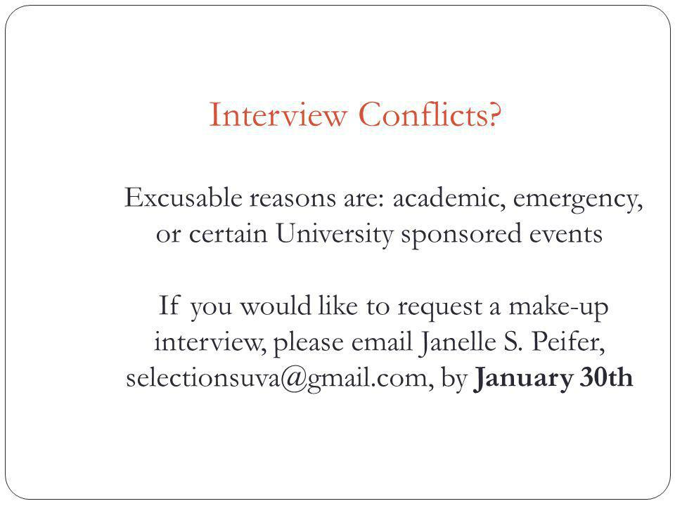 Interview Conflicts.