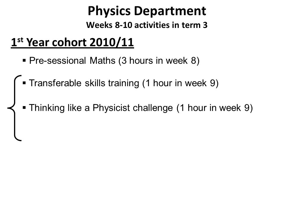Physics Department Weeks 8-10 activities in term 3 1 st Year cohort 2010/11 Thinking like a Physicist challenge (1 hour in week 9) Pre-sessional Maths (3 hours in week 8) Transferable skills training (1 hour in week 9)