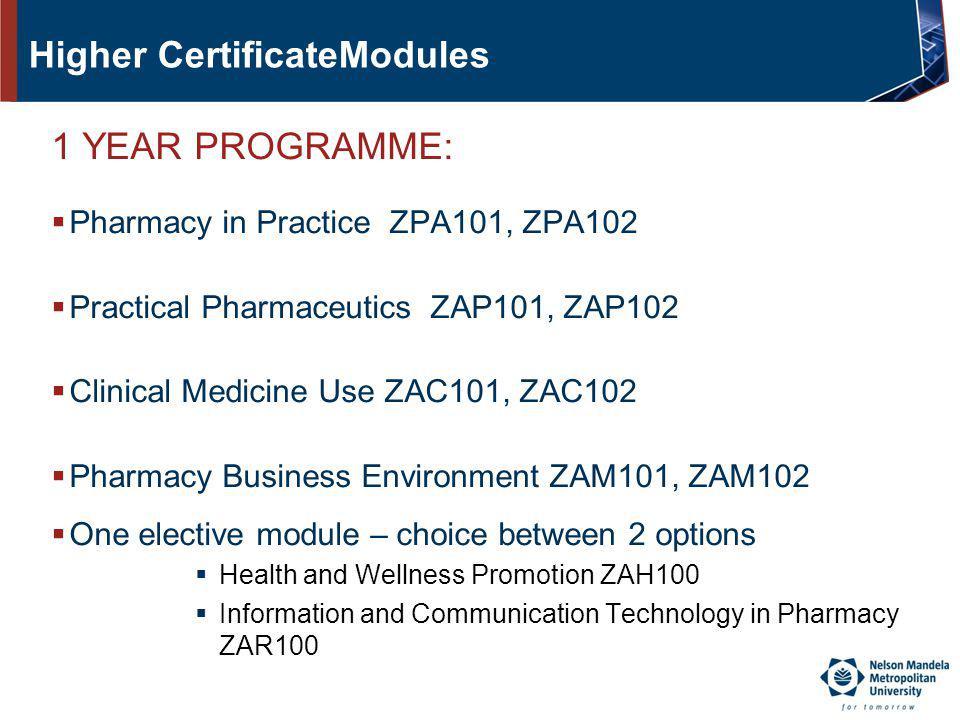Higher CertificateModules 1 YEAR PROGRAMME: Pharmacy in Practice ZPA101, ZPA102 Practical Pharmaceutics ZAP101, ZAP102 Clinical Medicine Use ZAC101, Z